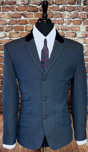 """Magnus"" Vintage Cloth Navy Velvet Collar Jacket"